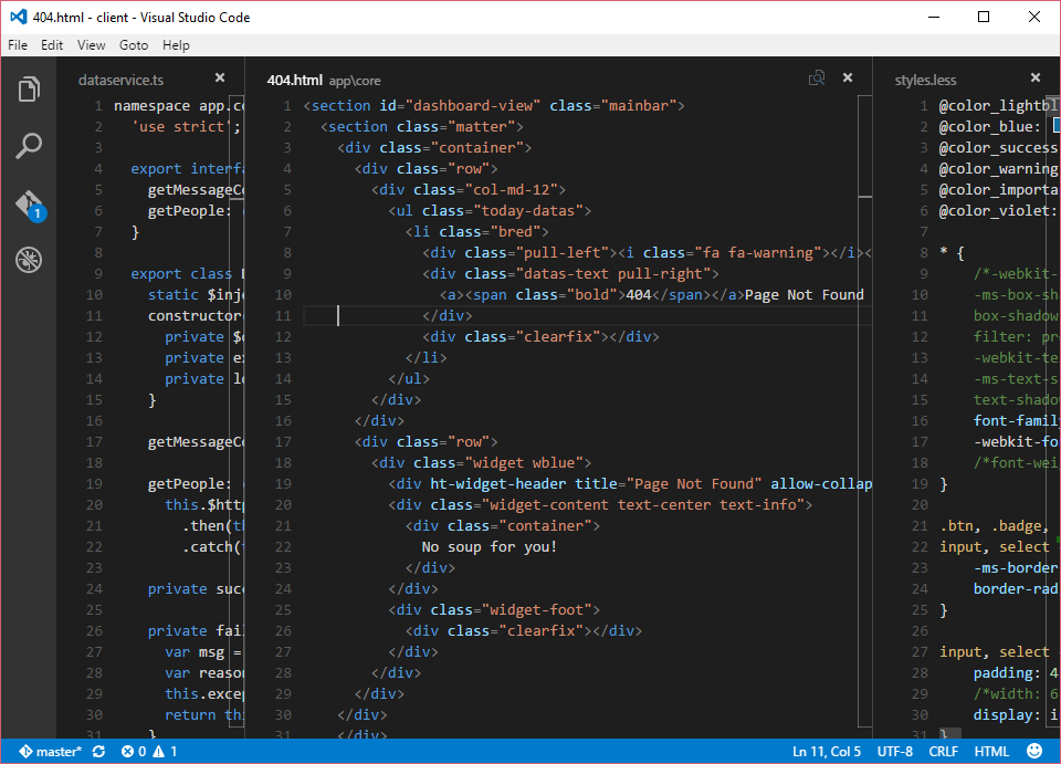 Visual Studio Code drei Editorfenster
