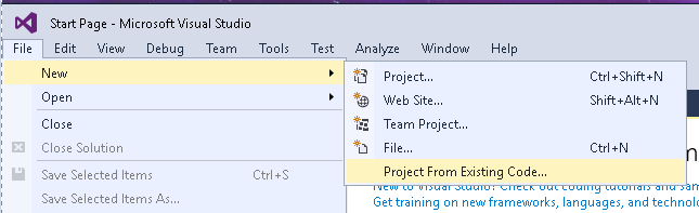 Visual Studio - create from existing code